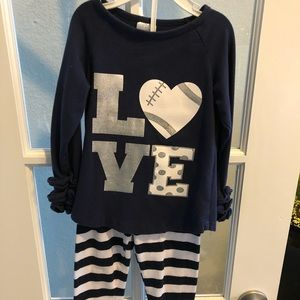 Other - Navy & White Toddler LOVE Football Outfit